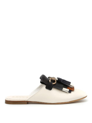 Tod'S: Loafers & Slippers - Fringe and tassels leather slippers