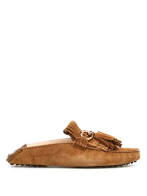 Tod'S: Loafers & Slippers - Fringed leather loafers slippers