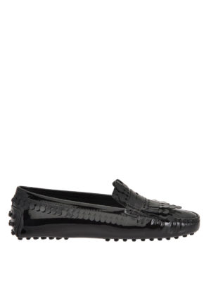 Tod'S: Loafers & Slippers - Fringed patent leather loafers