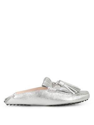 Tod'S: Loafers & Slippers - Fringed silver loafers with tassels