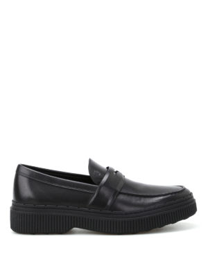 Tod'S: Loafers & Slippers - Glossy brushed leather loafers