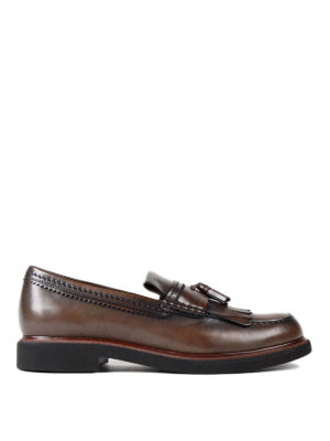 Tod'S: Loafers & Slippers - Glossy faded leather loafers