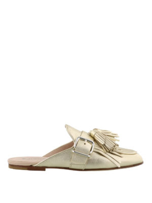 Tod'S: Loafers & Slippers - Gold leather slippers with tassels