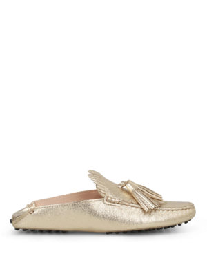 Tod'S: Loafers & Slippers - Gold leather tassel slippers