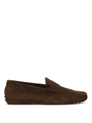 Tod'S: Loafers & Slippers - Gommini brown suede loafers