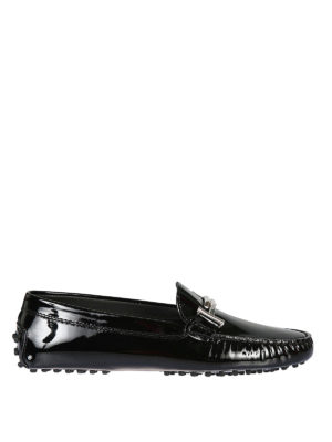 TOD'S: Mocassini e slippers - Mocassini Gommini Double T in vernice nera