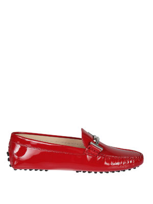 TOD'S: Mocassini e slippers - Mocassini Gommini Double T in vernice rubino