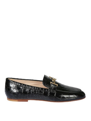 TOD'S: Mocassini e slippers - Mocassini neri rettile Gommini Double T
