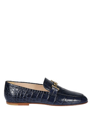 TOD'S: Mocassini e slippers - Mocassini blu rettile Gommini Double T