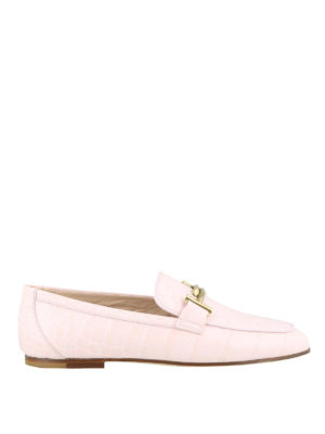TOD'S: Mocassini e slippers - Mocassini stampa rettile Gommini Double T