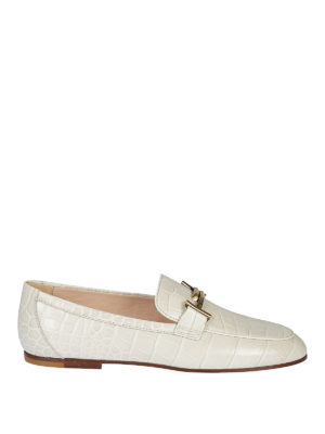 TOD'S: Mocassini e slippers - Mocassini bianchi rettile Gommini Double T