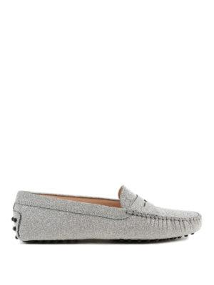 TOD'S: Mocassini e slippers - Mocassini Gommini in pelle glitterati