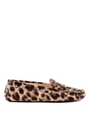 TOD'S: Mocassini e slippers - Mocassini Gommini in cavallino leopardati