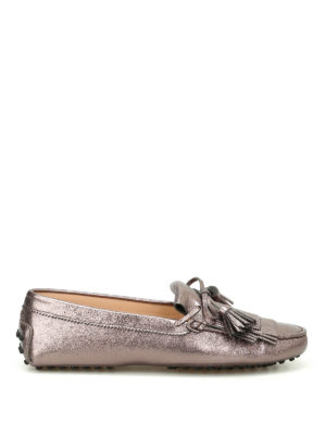 Tod'S: Loafers & Slippers - Gommini metallic leather loafers
