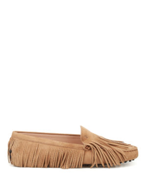 Tod'S: Loafers & Slippers - Gommini multi fringe suede loafers