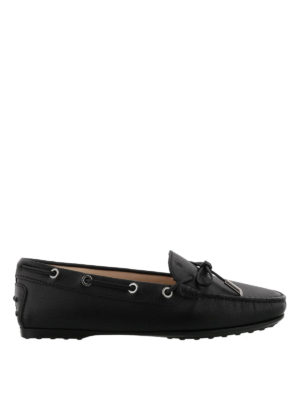 TOD'S: Mocassini e slippers - Mocassini Gommino neri con suola in gomma