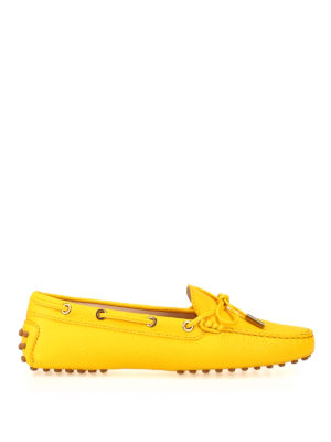TOD'S: Loafers & Slippers - Gommini yellow leather loafers