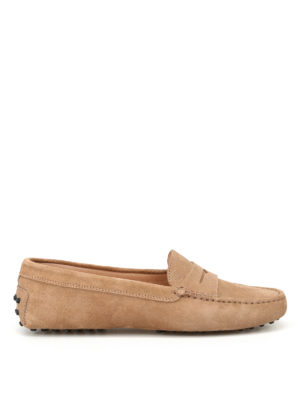 Tod'S: Loafers & Slippers - Gommino beige suede driving shoes