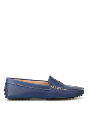 Tod'S: Loafers & Slippers - Gommino blue leather driving shoes