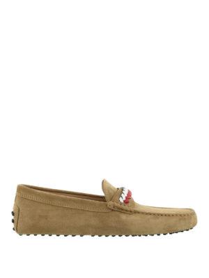 TOD'S: Mocassini e slippers - Mocassini Gommino in suede marrone