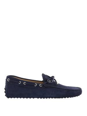 TOD'S: Mocassini e slippers - Mocassini Gommino in nabuk blu navy