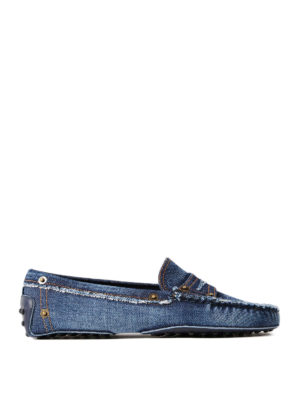 Tod'S: Loafers & Slippers - Gommino denim loafers