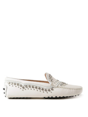 Tod'S: Loafers & Slippers - Gommino embellished white loafers