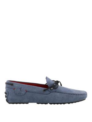 TOD'S: Mocassini e slippers - Mocassini blu avio Gommino-Ferrari