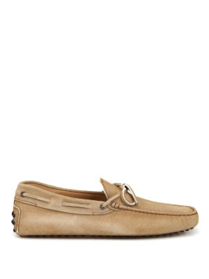 TOD'S: Loafers & Slippers - Gommino light beige suede driver loafers
