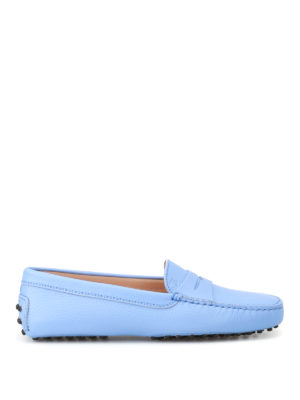 Tod'S: Loafers & Slippers - Gommino light blue leather loafers