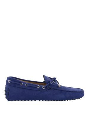 TOD'S: Mocassini e slippers - Mocassini Gommino in nabuk blu