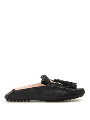 Tod'S: Loafers & Slippers - Gommino tassels black slippers