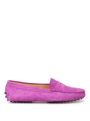 Tod'S: Loafers & Slippers - Gommino violet suede driving shoes