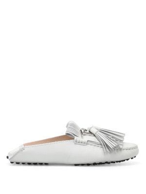 Tod'S: Loafers & Slippers - Gommino white leather slippers