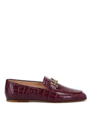 TOD'S: Mocassini e slippers - Mocassini in pelle stampata color vinaccia