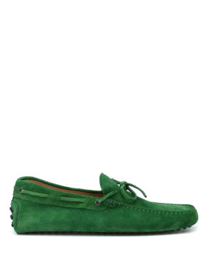TOD'S: Mocassini e slippers - Mocassini in camoscio verde