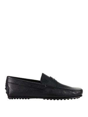 Tod'S: Loafers & Slippers - Hammered leather City black loafers