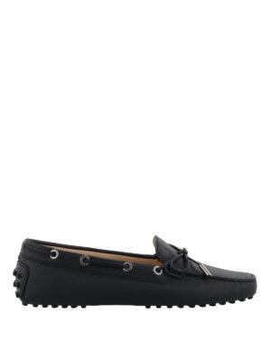 TOD'S: Mocassini e slippers - Mocassini Heaven in pelle a grana blu scuro