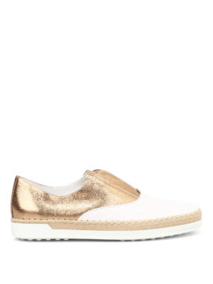 Tod'S: Loafers & Slippers - Leather and raffia Oxford slip-ons