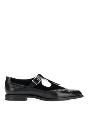 TOD'S: Mocassini e slippers - Monk strap brogue in pelle e velluto
