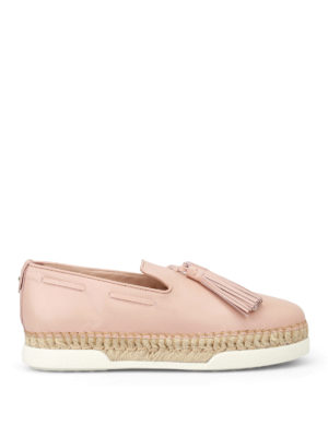Tod'S: Loafers & Slippers - Light pink leather tassel slip-ons