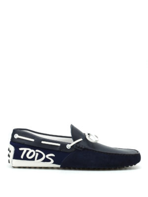 Tod'S: Loafers & Slippers - Logo patch blue loafers