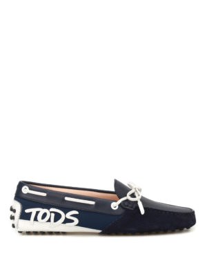 Tod'S: Loafers & Slippers - Logo patch dark blue loafers