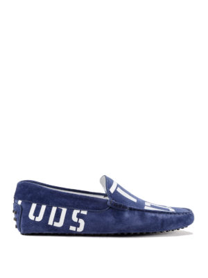 Tod'S: Loafers & Slippers - Logo print suede loafers
