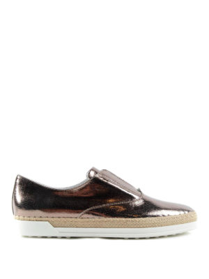 Tod'S: Loafers & Slippers - Metallic leather and raffia slip-on