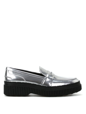 Tod'S: Loafers & Slippers - Metallic leather maxi sole loafers