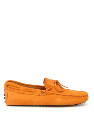 Tod'S: Loafers & Slippers - New Laccetto orange suede loafers