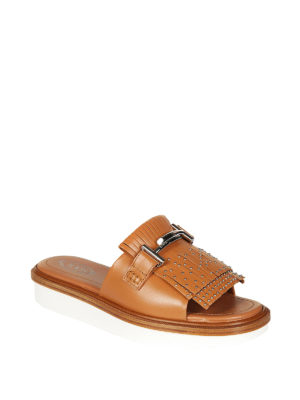 Tod'S: Loafers & Slippers online - 23A Double T brown slide sandals