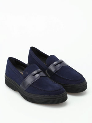 Tod'S: Loafers & Slippers online - 39A suede and leather blue loafers