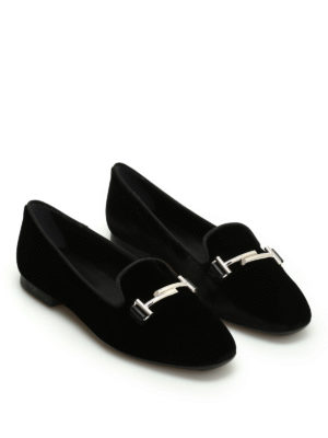 Tod'S: Loafers & Slippers online - 47A Double T velvet loafers